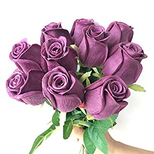 jiumengya 10pcs Real Touch Rose Simulated Fake Latex White/red/Pink/Yellow/champgne Roses 43cm for Wedding Party Artificial Decorative Flowers (deep Purple) 3