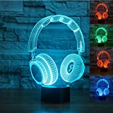3D Wireless Headphone Night Light Illusion Lamp 7 Color Change LED Touch USB Table Gift Kids Toys Decor Decorations Christmas Valentines Gift