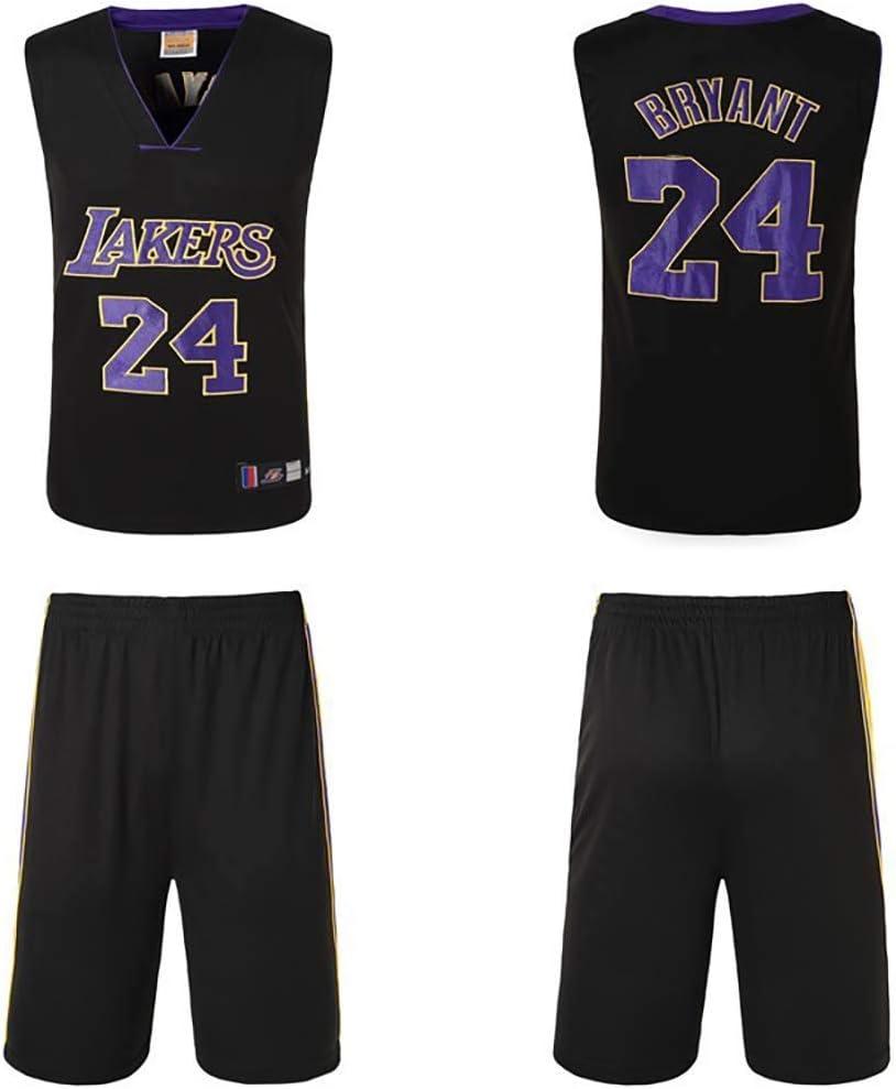 Lakers Kobe Tank Top and Shorts Set Men?s Baskeball Clothing Set NO.24 Sport Gym Set Black Mamba Spirit yellow,XL