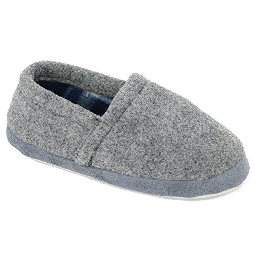 Zac & Evan Little Boys' Flannel Slipper (11/12 M US Little Kid, Light Grey) (Flannel Slippers)