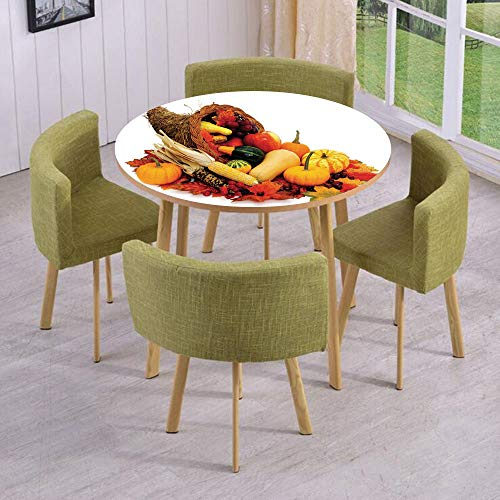 iPrint Round Table/Wall/Floor Decal Strikers/Removable/Thanksgiving Photograph with Butternut Squash Pumpkin Corn Cornucopia Decorative/for Living Room/Kitchens/Office Decoration -