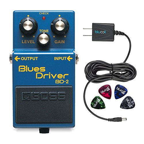 Boss BD-2 Blues Driver Guitar Effects Pedal - INCLUDES - Blucoil Power Supply Slim AC/DC Adapter for 9 Volt DC 670mA AND 4 Pack of Guitar Picks​ Driver Pedal