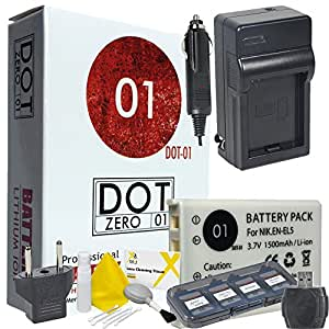 DOT-01 Brand 1500 mAh Replacement Nikon EN-EL5 Battery and Charger for Nikon P4 Digital Camera and Nikon ENEL5 Accessory Bundle with BONUS Lens Blower Brush Cleaning Kit and Hard Memory Card Case