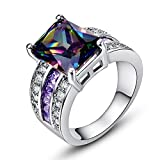LeoBon Luxury Party Gift Big Rings for Women Lady Rainbow Topaz Amethyst White CZ Diamond 18K White Gold Plated Jewelry