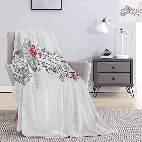 Luoiaax Music Children's Blanket Vintage Style Gramophone Record Player with Floral Ornament Blossom Antique Lightweight Soft Warm and Comfortable W54 x L72 Inch Grey Black White (Superhero Record Player)