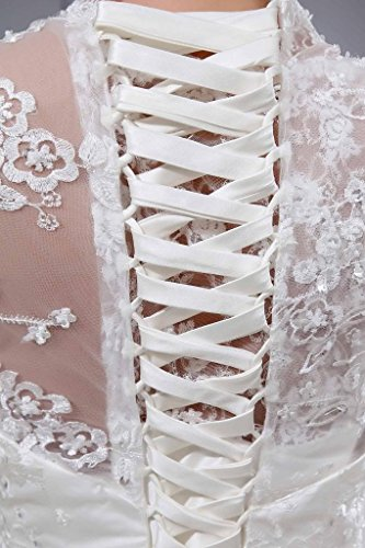 Spitze V Sheer Ausschnitt Detail mit 3 4 Elfenbein Brautkleid Aermel GEORGE BRIDE BF8qTT