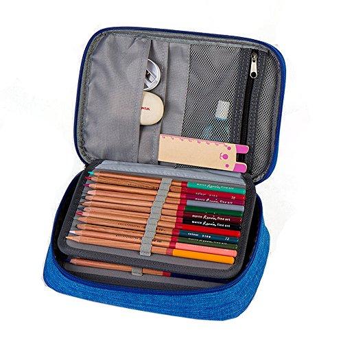 Carcasa rígida funda de pluma bolsa caja de lápiz papelería 72ranuras, práctico bolígrafo con cierre grande de...