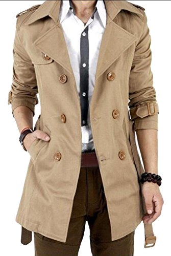 Double Breasted Belt - Vska Men Casual Outwear Double-breasted Trench Coat Belt Khaki S