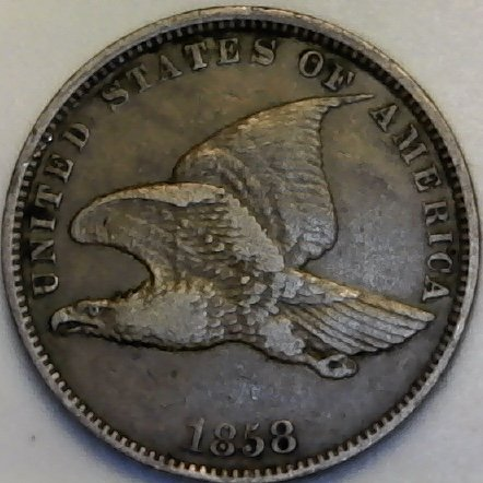 1858 P Flying Eagle ((Small Letters)) Penny Cent Choice Very Fine Details