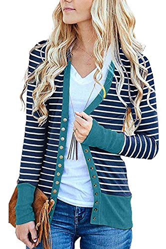 FAFOFA Open Front Cardigan for Women Stripe Button Up V Neckline Casual Loose Outwear Top L Light Blue ()