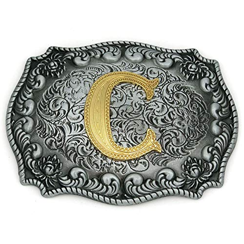 Initial Letters ABCDEFG to Y-Cowboy Rodeo Silver Large Belt Buckle for Men and Women (C) Upgrade ()