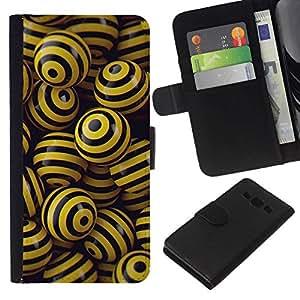 All Phone Most Case / Oferta Especial Cáscara Funda de cuero Monedero Cubierta de proteccion Caso / Wallet Case for Samsung Galaxy A3 // BLACK & YELLOW BALLS