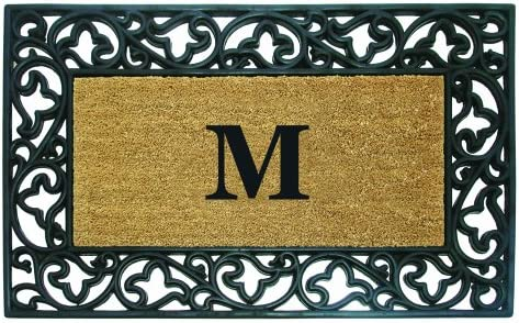 Nedia Home Acanthus Border with Rubber Coir Doormat, 30 by 48-Inch, Monogrammed M
