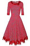 etuoji Retro Stylish Women Doll Collar Half Sleeve High Waist Elegant Long Dress