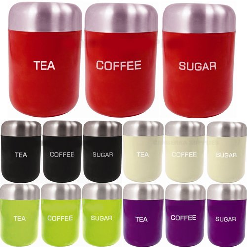 3PC CANISTER SET STAINLESS STEEL COFFEE TEA SUGAR JAR LID CANISTERS