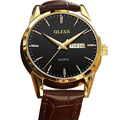 Men's Brown Leather Watch,Black Face Watches for Men,Business Fashion Casual Quartz Mens Watch,Day Date Watch for Men,Classic Dress Black and Gold Watches for Men,Watches for Men on Sale Clearance