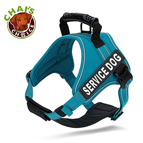 (Chai's Choice Service Dog Vest Harness Best - 2 Reflective Service Dog Patches and Sturdy Handle. Matching Padded 3M Reflective Leash Available (X-Small, Blue))
