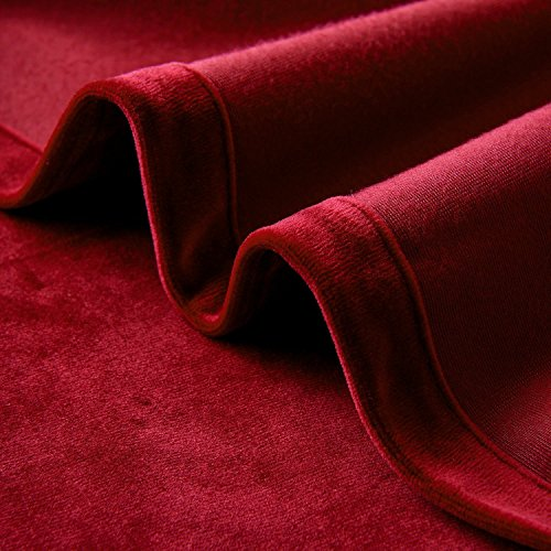 Cherry Home Set of 2 Classic Blackout Velvet Curtains Panels Home Theater Grommet Drapes Eyelet 52Wx63L-inch Red(2 panels)Theater| Bedroom| Living Room| Hotel by Cherry Home (Image #6)
