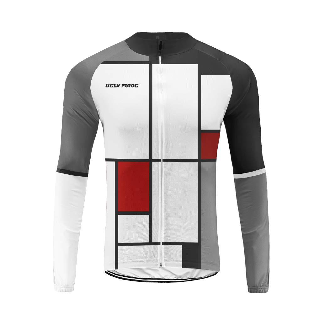 Uglyfrog Herren Winter Thermal Fahrradbekleidung Set Radtrikot Langarm Winddicht Herren Thermische Fleece mit 3D Polster Hosen W03