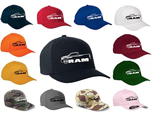 2010-17 Dodge Ram Pickup Truck Classic Outline Design Flexfit hat Cap Small/Medium Black