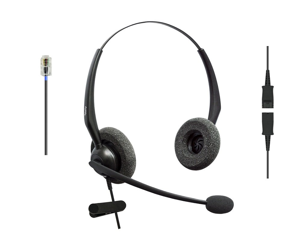 DailyHeadset RJ9 Duo Corded Noise Cancelling Microphone Phone Headset for Grandstream Yealink Snom Panasonic Business Office IP Phone