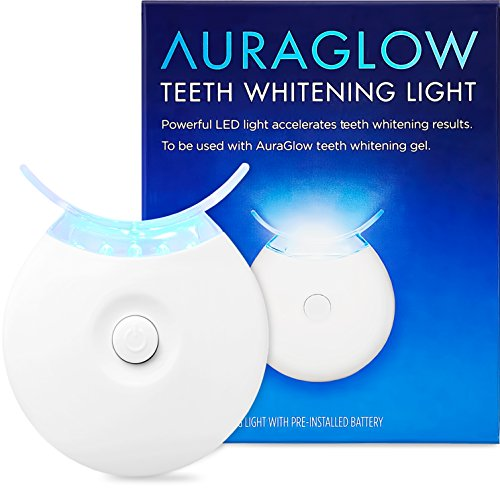 AuraGlow Teeth Whitening Accelerator Light, 5x More Powerful Blue LED Light, Whiten Teeth Faster (Whitener Syringe)