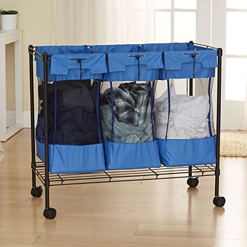 Household Essentials 7119 Rolling Triple Laundry Sorter on Wheels - Storage Organizer-  Black Steel Frame
