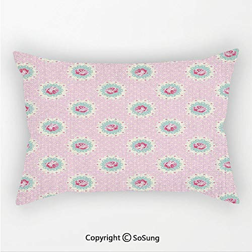 Shabby Chic Decor Linen Car Neck Pillow,Retro Polka Dotted Backdrop and Floral Motifs Roses Cottage,13.7x7.8Inches,for Sofa Bedroom Car & Home Decorate Baby Pink White Seafoam