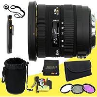 Sigma 10-20mm F3.5 EX DC HSM Lens for Nikon Digital SLR Cameras + 82mm 3 Piece Filter Kit + Lens Cap Keeper + Deluxe Lens Pouch + Lens Pen Cleaner + DavisMAX MicroFiber Cloth + Deluxe Starter Kit DavisMAX Bundle