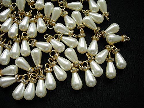FidgetFidget BA05 10x18mm Pearl Teardrop Beads Cream w/Gold Loop Diamante Jewelry/Craft 20pcs ()