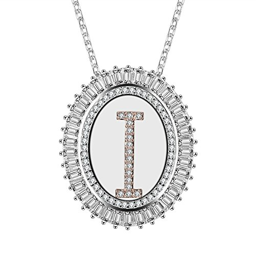 Caperci Oval Two-Tone Cubic Zirconia Alphabet Initial Letter I Pendant Necklace for Women, 18