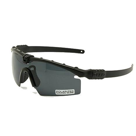Polarizzato esercito occhiali da sole balistica militare occhiali uomo telaio 3/4 lente combattimento guerra gioco Eyeshields (grigio, polarizzato 4 obiettivi)