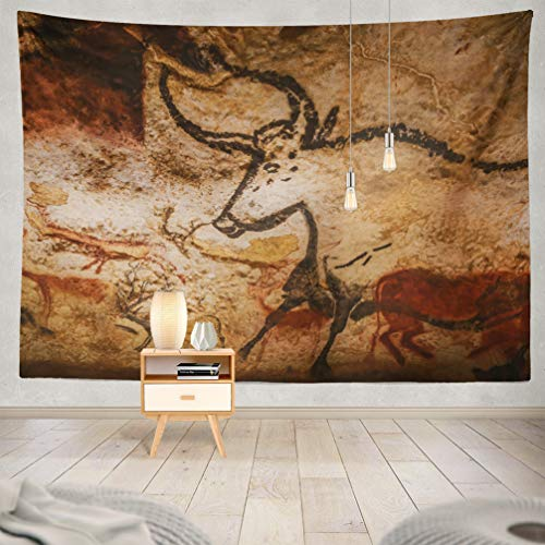 WAYATO Valley Wall Hanging Tapestry, 80 X 60 Inch Valley France Animals Wall Cave World Heritage List Art Europe for Home Decorations Bedroom Dorm Decor