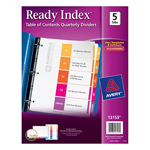 Cheap Avery Ready Index Table of Contents Quarterly Dividers, 5-Tabs per Set, Quarter 1-4 and Annual (13153) for cheap