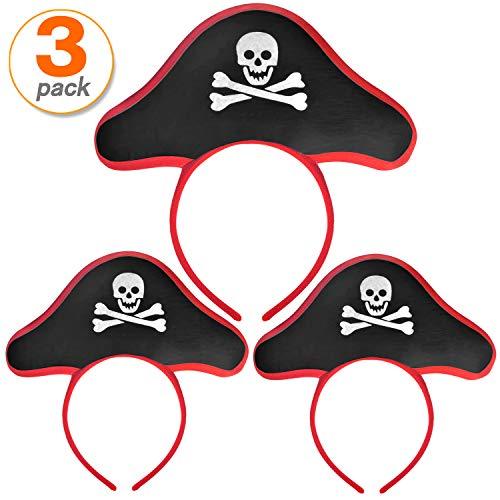 FOBU 3 Pack Pirate Headband Pirate Hat Headband Costume Cap Halloween Masquerade Cosplay Accessories Props Red Black]()
