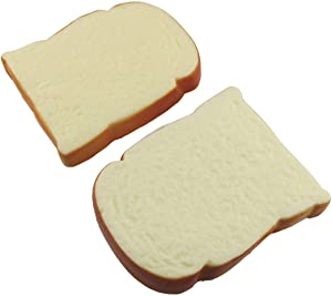 E-outstanding Fake Toast Slice 2PCS Realistic Artificial Toast Faux Bread Simulation Cake Food Model Decoration Kitchen