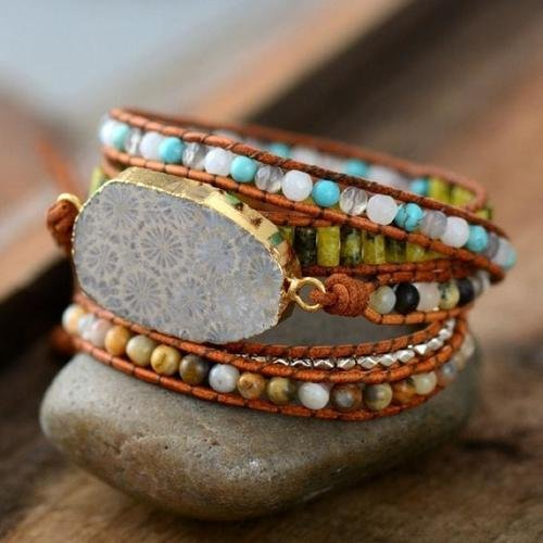 Chrysanthemum Stone Leather Wrap Bracelet | Natural Unique Mixed Stones Gilded by Natural Stone Charm | Natural Stones Wrap Bracelet | Xmas Gift Ideas | Fossil Stone Wrap Bracelet