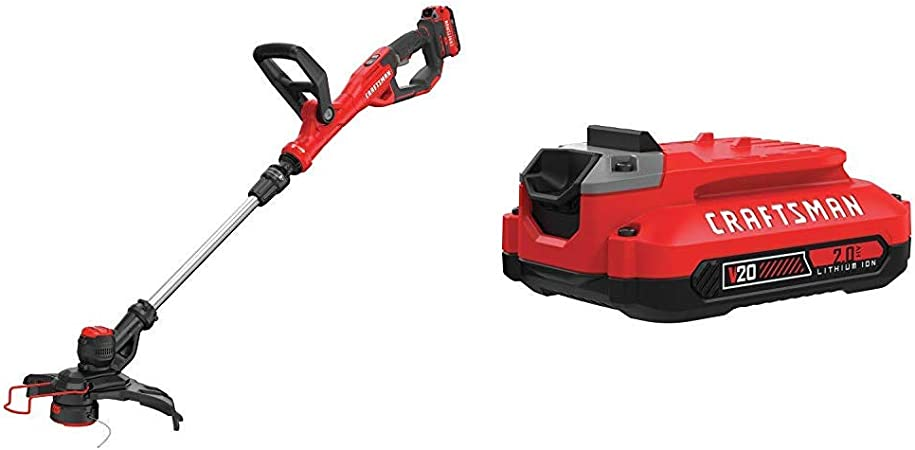 Amazon Com Craftsman Cmcst900d1 V20 Cordless Weedwacker String Trimmer Edger Automatic Line Advance Feed With Cmcb202 20v Max 2 0 Li Ion Battery Garden Outdoor