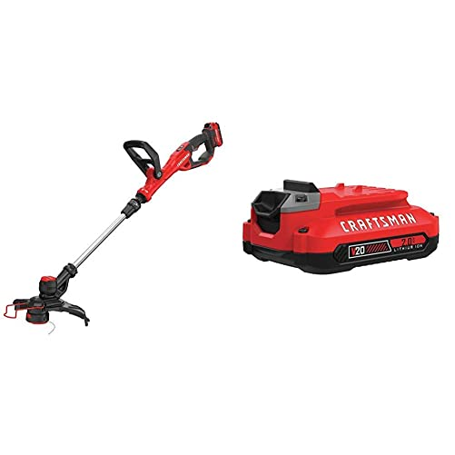 CRAFTSMAN CMCST900D1 V20 Cordless WEEDWACKER String Trimmer Edger – Automatic Line Advance Feed with CMCB202 20V MAX 2.0 LI-ION Battery