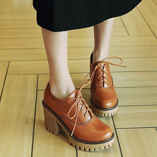 Harnas Dames Lace Up Retro Fashion Platform Hoge Hak Oxfords Schoenen Geelbruin