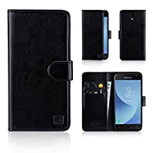 32nd Book Style Faux Leather Wallet Flip Case for Samsung Galaxy J3 (2017) - Black