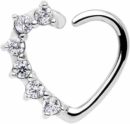 16 Gauge Clear Heart Right Closure Daith Cartilage Tragus Earring