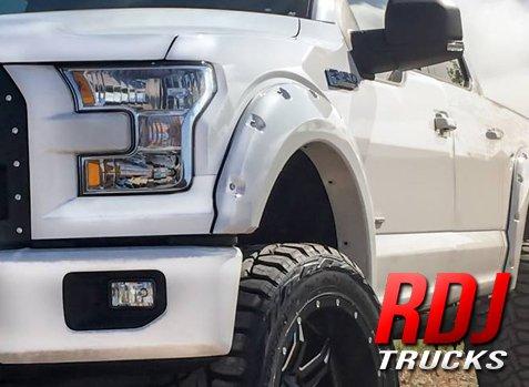 RDJ Trucks PRO-OFFROAD Bolt-On Style Fender Flares - Ford F150 2015-2017 - Set of 4 - Paintable OE Black Finish