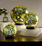 Wind & Weather Set of 3 Yellow 3D Lighted Mercury Glass Balls Indoor Home Accents Battery Operated Built in Timer Graduated Sizes 5 in, 6 in, 8 in