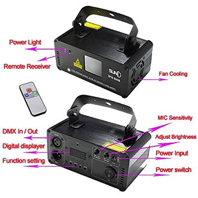 Mini IR Remote DMX 512 RGB Full Color Stage Lighting DJ Dance Party Show Projector Lights ADM-F400