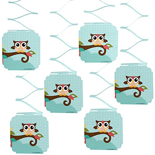 Big Dot of Happiness Owl - Baby Shower or Birthday Party Hanging Decorations - 6 Count -