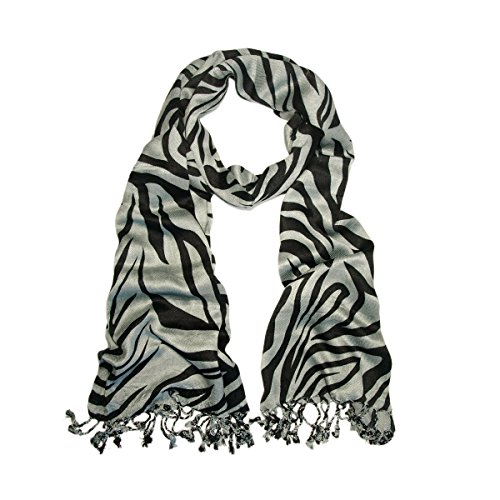 TrendsBlue Elegant Zebra Animal Print Fringe Scarf, Gray