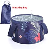 Collapsible wash basin, Masatow Lightweight Portable Outdoor Folding Wash Basin Collapsible Bucket Water Bag Wash Bucket for Camping Traveling Hiking Fishing Washing