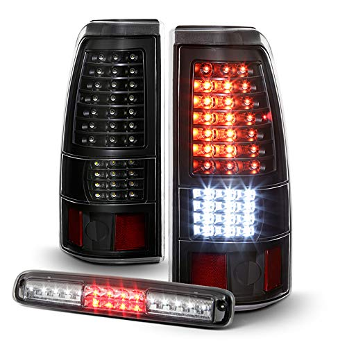 AVENN 2003-2006 Chevy Silverado 1500 2500 3500 Black Full LED Tail Lights + Smoked LED 3rd Brake Light Cargo Stop Lamp
