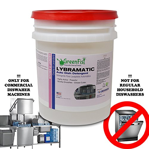 GreenFist Lybramatic | Commercial Industrial Grade Dishwasher [Ready-to-Use] Liquid Detergent,5 Gallon (Dishwashing Liquid 5 Gallon Pail)